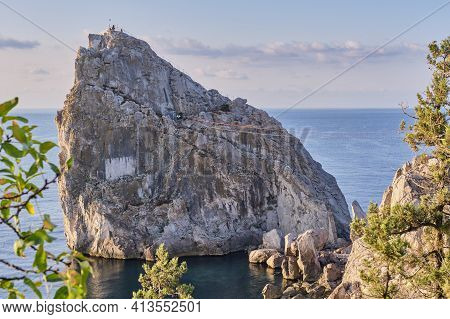 Rock Diva, The Black Sea Coast Near Yalta, Crimea. People Walk On The Suspension Bridge, Climb To Th