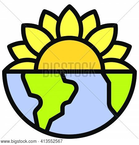 Half Sunflower On Half Earth Icon, Earth Day Related Vector Illustration