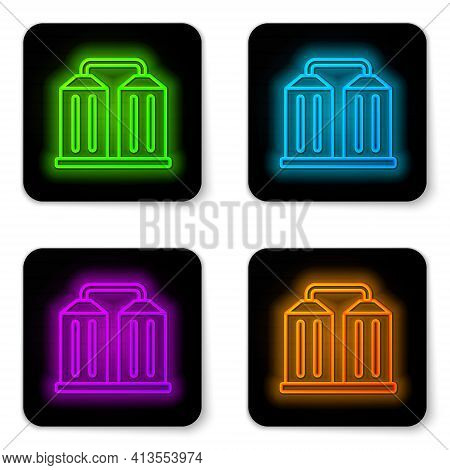 Glowing Neon Line Granary Icon Isolated On White Background. Silo With Grain, Elevator, Granary, Fac