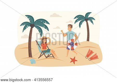 Couple Travels Together Scene. Man And Woman Resting On Beach By Sea, Lying On Sun Lounger, Sunbathi