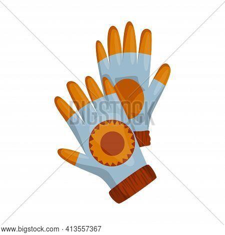 Winter Gloves Or Knitted Woolen Mittens As Handwear In Winter Or Autumn Season. Vector Design Symbol