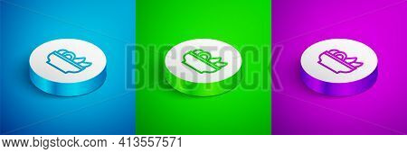 Isometric Line Nachos In Plate Icon Isolated On Blue, Green And Purple Background. Tortilla Chips Or