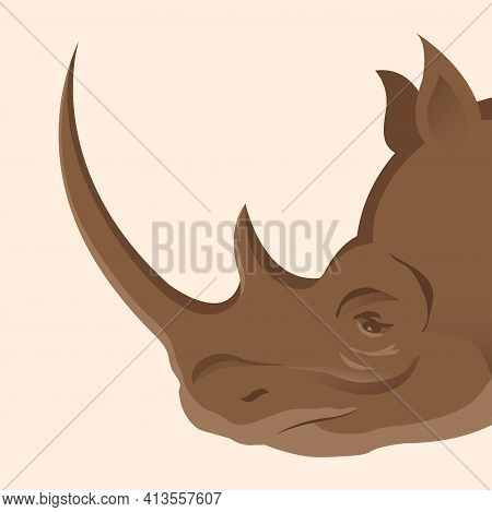 Rhino Head Side View. The Herbivore Of Africa. Protection Of Endangered Species Of Animals. Vector I