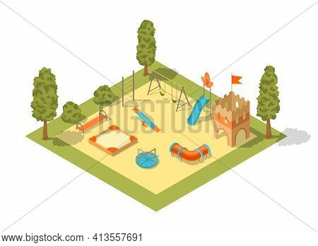 Isometric Playground Concept For Outdoor Family Pastime. Playful Kindergarten. Colored 3d Isometric