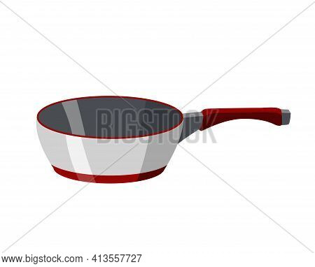 Cooking Pan Colorful Vector Illustration. Isolated Icon Of Skillet Cookware For Cooking. Utensils Sy