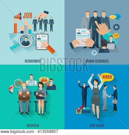 Hire Design Concept Set With Human Resources Recruitment Flat Icons Isolated Vector Illustration