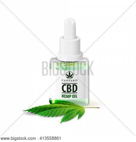 Mockup Of Cbd Oil Bottle. Glass Transparent Bottle Of Medical Cbd Oil And Hemp Leaf Isolated On Whit