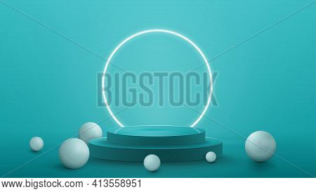 3D Render Illustration With Blue Abstract Scene With Neon White Ring Around Podium. Empty Podium Wit