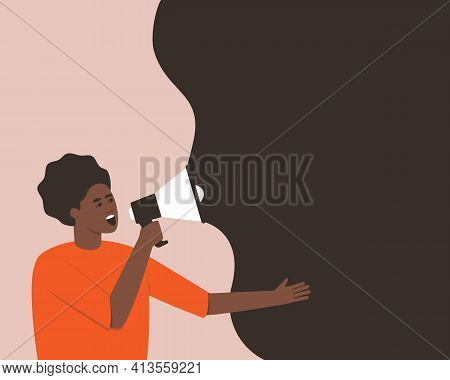 African American Makes An Announcement In A Megaphone. Protest Concept. Horizontal Banner With Place