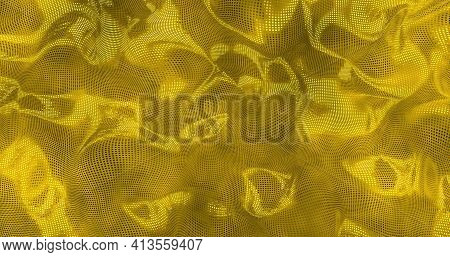 Gold Sparkly Satin Background. Glamour Satin Texture 3d Rendering .