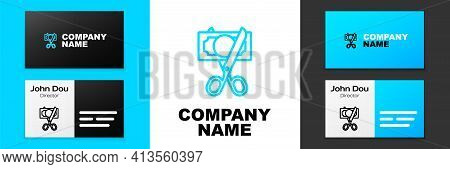 Blue Line Scissors Cutting Money Icon Isolated On White Background. Price, Cost Reduction Or Price R