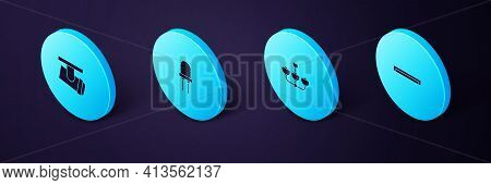 Set Isometric Fluorescent Lamp, Chandelier, Light Emitting Diode And Led Track Lights Lamps Icon. Ve