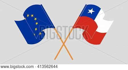 Crossed And Waving Flags Of Chile And The Eu