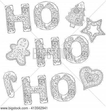 Ho Ho Ho Text Composed Of Gingerbread Cookies. Christmas Lettering. Vector Illustration In Hand Draw