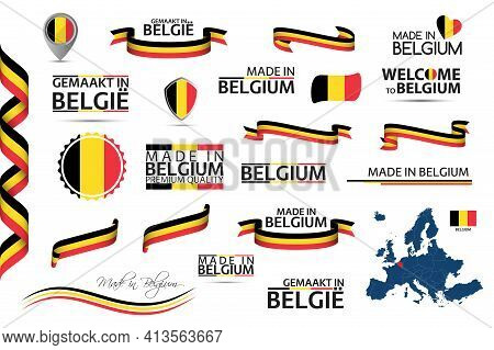 Big Vector Set Of Belgian Ribbons, Symbols, Icons And Flags Isolated On A White Background. Made In