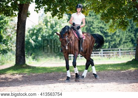 Teenage Girl Equestrian Riding Horseback On Arena At Sport Training. Vibrant Multicolored Outdoors H