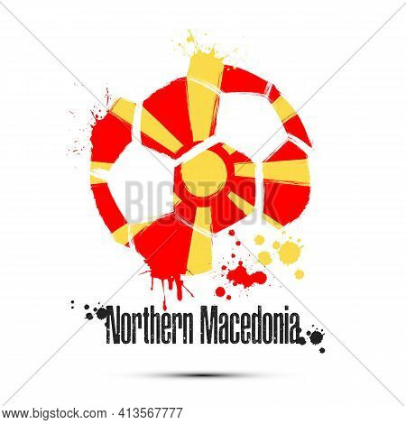Soccer Ball With Northern Macedonia National Flag Colors