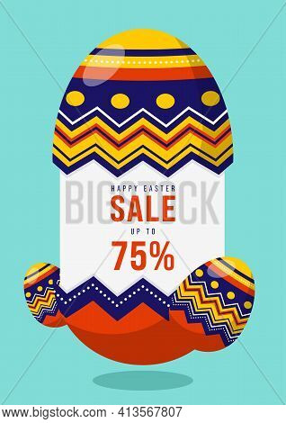 Happy Easter Sale Promotion Banner And Special Discount Template Design Decorative With Fancy Egg Fl