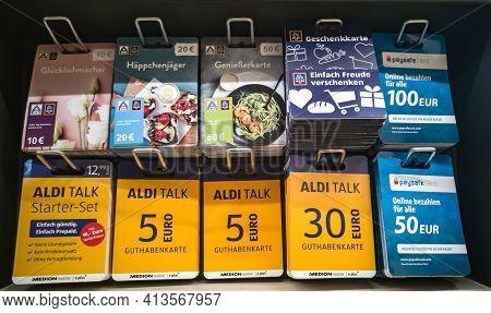 Wetzlar; Germany - 2020.07.31: Aldi, Aldi Talk Gift Certificates In A Shop