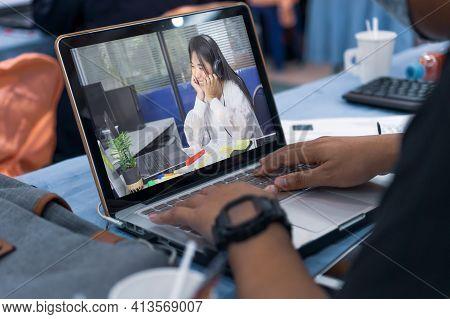Distant Learning In Online Education Of Student Learning Study Meeting. Attractive Girl Beautiful As