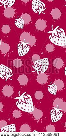 Strawberry Berry Cream Monochrome Pink White Sketch Seamless Pattern Texture Background Vector