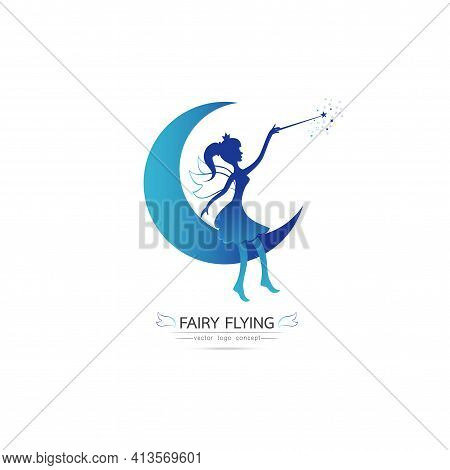 Fairy Flying Logo Vector Icon Cartoon Style. Elegant Fairy Silhouette Holding A Magic Wand With Magi