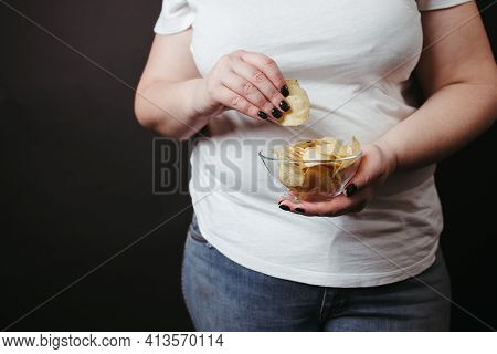 Overweight Woman Eat Unhealthy Fattening Junk Food
