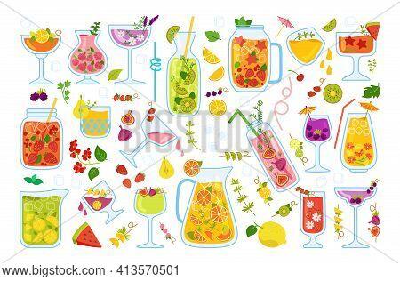 Tropical Cocktail Juice Cartoon Set Flat Vector