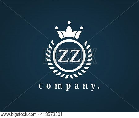 Letter Zz, Z Heraldic Logo In Wreath, Round Frame. Elegant Monogram For A Card, Badge, Label, Antiqu