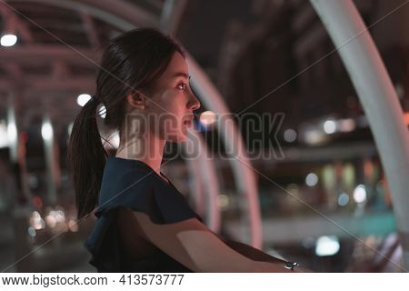 Depressed Young Asian Woman Standing Alone And Lonely Standing Over Footbridge Looking Away While Th