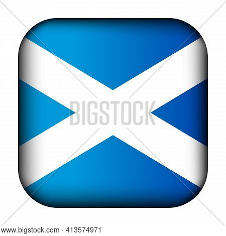 Glass Light Ball With Flag Of Scotland. Squared Template Icon. Scottish National Symbol. Glossy Real