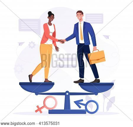Gender Equality Concept With Diverse Multiracial Business Man And Woman Shaking Hands Standing On A