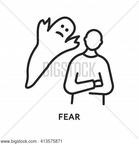 Fear Flat Line Icon. Vector Illustration A Ghost Scares A Person. Mentally Ill Person