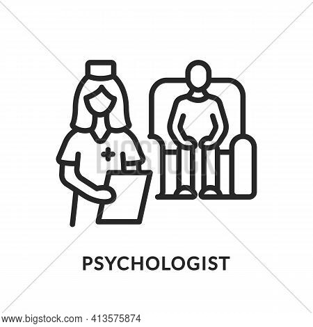 Psychological Help Flat Line Icon. Vector Illustration Psychiatric Care. Patient Sits In A Chair At