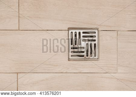 Floor Drain, Metal Hole For Draining Water In The Shower Cabin In The Bathroom, Top View.