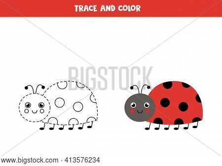 Trace And Color Cute Ladybird. Worksheet For Kids.