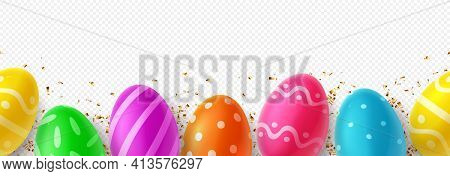 Seamless Pattern For Easter Decor On Checkered Background. Color Eggs With Easter Decoration And Gol