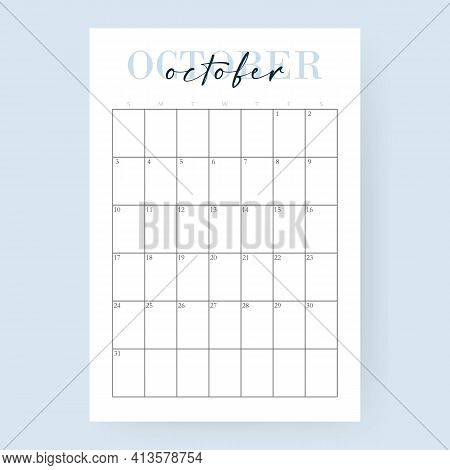 October Month 2021 Calendar. Layout For 2021 Years. Week Starts From Sunday. Wall Calendar Template