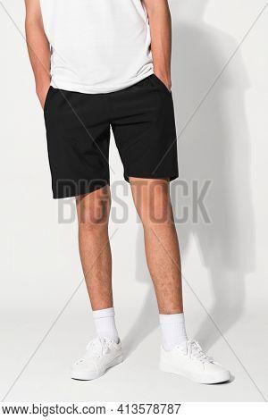 Man in black shorts for summer apparel shoot