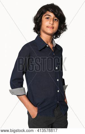 Basic dark blue shirt for boys teens apparel studio shoot