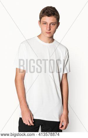 White basic t-shirt for boys youth apparel studio shoot