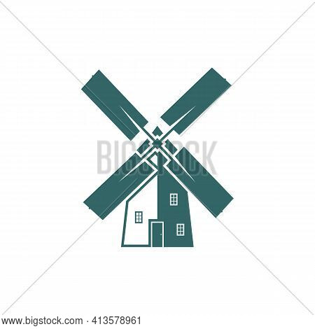 Windmill Logo Design Vector Illustration, Creative Windmill Logo Design Concept Template, Symbols Ic