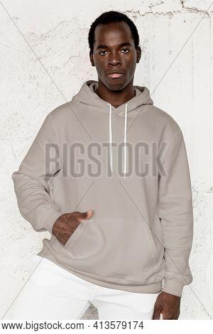 Stylish gray hoodie streetwear men's apparel fashion