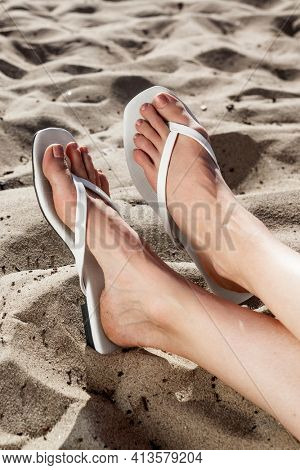 White beach sandals summer fashion photoshoot