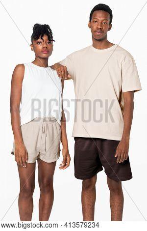 Couple in pajamas basic sleepwear fashion