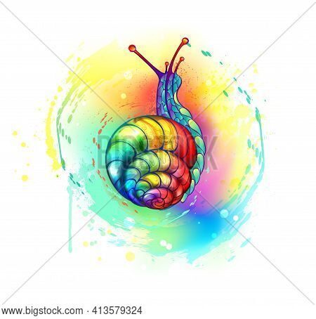 Artistically Drawn, Bright, Rainbow Snail Crawling Up On White Background Painted With Multicolor Pa
