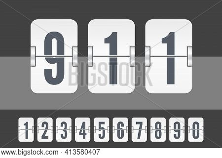 Set Of White Flip Score Board Numbers For Countdown Timer Or Calendar. Vector Template For Your Desi