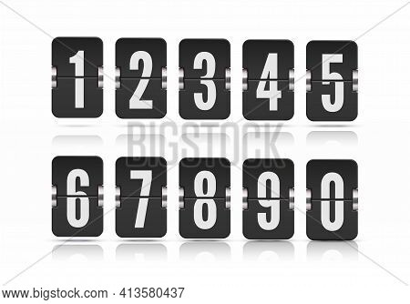 Vector Template With Flip Scoreboard Numbers And With Reflections Floating On Different Heights For