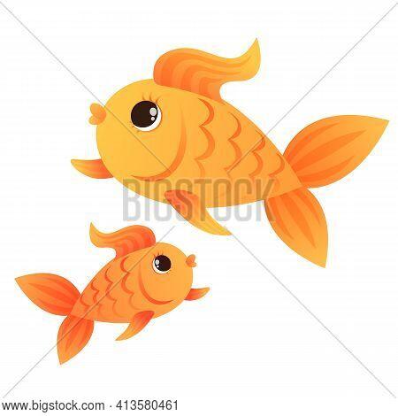Goldfish On A White Background. Undersea World.