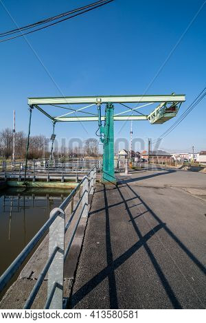 On A Sunny Morning This Lovely Drawbridge Along The River Is Closed
